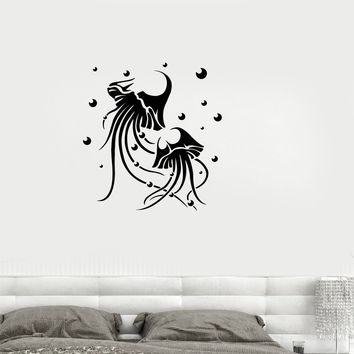 Vinyl Decal Jellyfish Nautical Marine Ocean Bathroom Decor Wall Sticker Mural Unique Gift (ig2695)