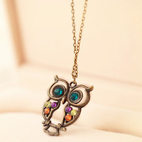 Vintage Owl Pendant Necklace Crystal Jewelry