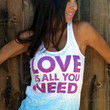 LOVE is All You Need.  A-Line Ombre Burnout Tank. Size SMALL