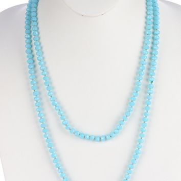 Aqua Blue Iridescent Glass Bead Extra Long Wraparound Necklace