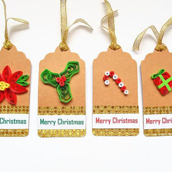 Christmas tags, gift tags, Xmas gift tags, quilled gift tags, Christmas gift tag, Christmas tag set, holiday gift tags, Merry Christmas tags