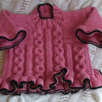 Baby Girl, Knitted, Pink and Black Sweater Tunic