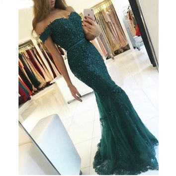 Formal Evening Gowns Lace Appliques Beaded Mermaid Red Long Prom Dresses Tulle Emerald Green Evening Dresses