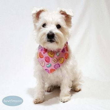 Puppy Love Valentine Candy Hearts Dog Bandana