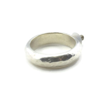 Hammered Sterling Silver Changeable Ring Band with 2.5 mm Thread