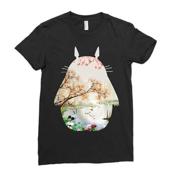 Totoro With Japanese Landscape Ladies Fitted T-Shirt
