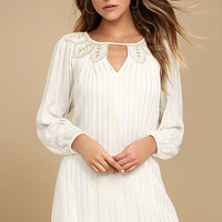 Amuse Society Amora Gold and Cream Embroidered Shift Dress