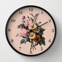 P.J.Redoute Vintage botanical illustration, rose flowering bouquet. Wall Clock by ArtsCollection