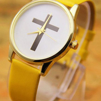 Yellow Leather Cross Watch
