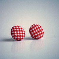 Red and White Checked Gingham Fabric Earrings - Upcycle - Free Shipping