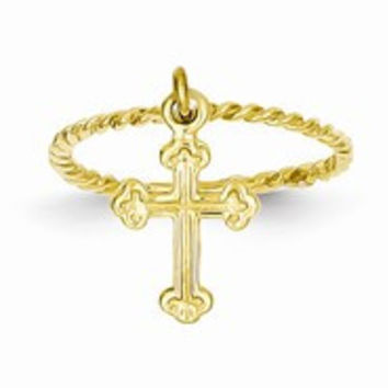 14k Yellow Gold Cross Dangle Twisted Band Ring Child's Ring
