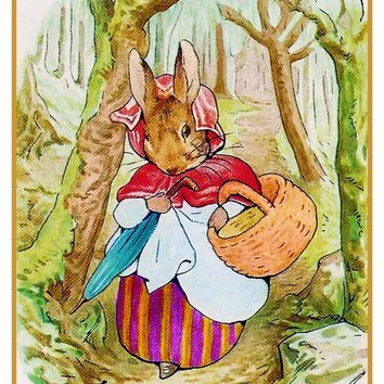 Mrs Rabbit Goes to Market inspired by Beatrix Potter Counted Cross Stitch or Counted Needlepoint Pattern