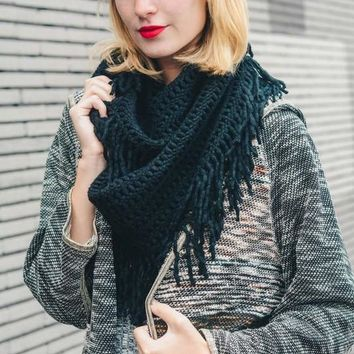 Warm Greetings Tassel Infinity Scarf, Black