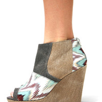 Printed Color Block Peep Toe Wedges
