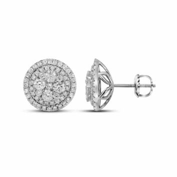 14kt White Gold Women's Round Diamond Framed Flower Cluster Earrings 1-5-8 Cttw - FREE Shipping (USA/CAN)