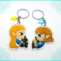 The Legend of Zelda Breath of the Wild Keychain Link and Zelda Keychain Legend of Zelda Couple