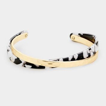 Dramatic Two Toned Gold Cross Cuff Bracelet