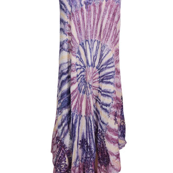 Tie Dye Tank Dress Paisley Embroidered Boho Hippie Flare Beach Cover Up Sundress