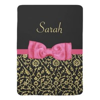 Cute Pink Bow Black Gold Floral Damask Baby Name Swaddle Blankets
