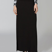 Full Tilt Double Slit Maxi Skirt Black  In Sizes