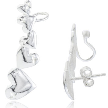 925 Sterling Silver Multi Heart Stud and Cuff Earrings