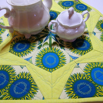 Hexagon Table Topper Quilt Geometric Sunflowers of Blue and Yellow