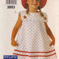 Pullover, sleeveless A-line dress with wide square collar and matching sun hat girls size 5 6 6X See & Sew Butterick 3893 UNCUT