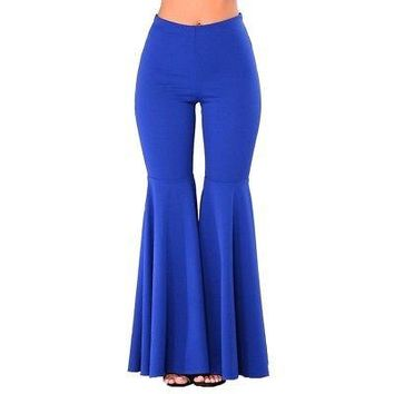 Boho Hippie High Waist Wide Leg Long Flared Bell Bottom Pants