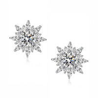 Round and Marquise Cubic Zirconia Radiance Stud Earrings