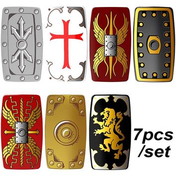 7pcs/set Medieval Knights Shields Crusader Lord of the Rings Building Blocks Bricks DIY Gifts Toys for Children PGPJ3020