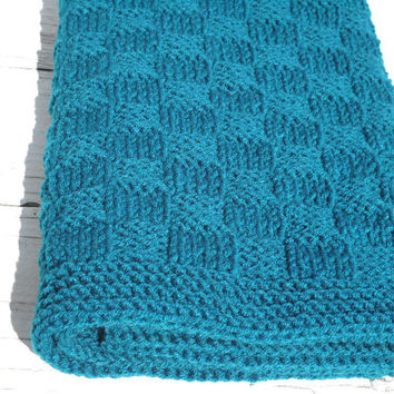 Teal Baby Blanket - Hand Knit Basketweave Children Blanket - Unisex Baby Travel Blanket - Teal Baby Afghan - Children Knitted Blanket