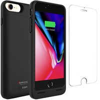 iPhone 8 Battery Case with Qi Wireless Charging, Alpatronix BX190 (4.7-inch) 3200mAh Slim Rechargeable Extended Protective Portable Charger Case for iPhone 8 [Apple Certified Chip; iOS 11+] - Black