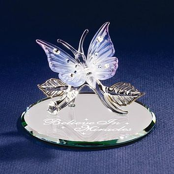 Glass Baron Butterfly Believe In Miracles Glass Figurine
