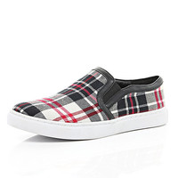 River Island Womens Red plaid plimsolls