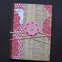 Vintage Pink Prints Jotting Journal paper sketch writing pink brown white cream red flower floral rose wrap tie cute pretty