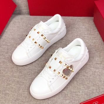 VALENTINO  Men Fashion Boots fashionable Casual leather Breathable Sneakers Running Shoes