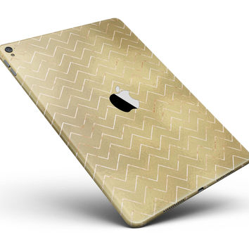 """The Golden Surface with White Chevron Full Body Skin for the iPad Pro (12.9"""" or 9.7"""" available)"""
