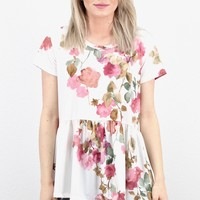 Fabulous Floral Peplum Swing Top {Cream}