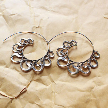 Brass Earrings - Brass Spiral Earrings - Gypsy Earrings - Spiral Jewelry - Ethnic Jewelry - Brass Bali Jewelry