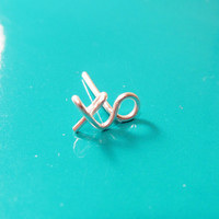 Single Sterling Silver XO Earring, Kiss and Hug Earring, Gold XO Stud, XO Post Earring, Love Earring, Wire Word Stud, Valentine's Day Gift