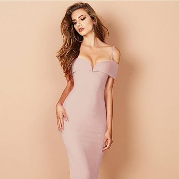 Strappy V Neck Bandage Dress