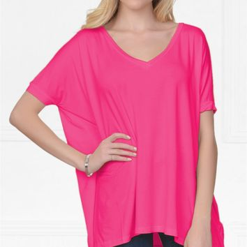 Piko 1988 Bamboo Bright Candy Rose Pink Short Dolman Sleeve V Neck Piko Bamboo Basic Loose Tunic Tee Top