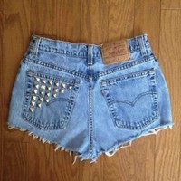 Levi's High Waisted Denim Summer Studded Shorts 49% off retail
