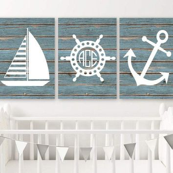 Nautical Nursery Art, Nautical Nursery Wall Decor, Anchor Sailboat Nautical CANVAS or Print, Boy Monogram Nautical Nursery Decor, Set of 3