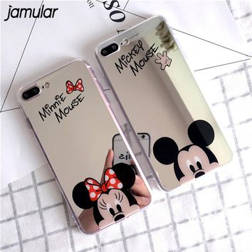 JAMULAR Cartoon Mickey Minnie Mouse Mirror Case For iPhone X 7 8 Plus 5S SE Soft Silicone Cases For iPhone 6 6S 7 8 Plus Shell
