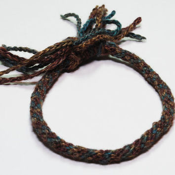 Fall Coloured Yarn Kumihimo Fibre Bracelet by epicstitching