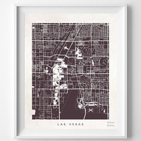 Las Vegas, Nevada, Street Map, Nursery, Poster, Wall Decor, Town, Illustration, Pretty, Room, Art, Cute, World, State, Print  [NO 502]