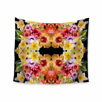 """Danii Pollehn """"Flower Caleidoscope"""" Yellow Orange Contemporary Floral Photography Digital Wall Tapestry"""