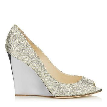 Jimmy Choo Women Fashion Sequins Heels Wedge Shoes