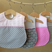 Baby Girl Bib - Set of 4 Boutique Bibs / baby shower gift for girls / Pink and Gray Bibs